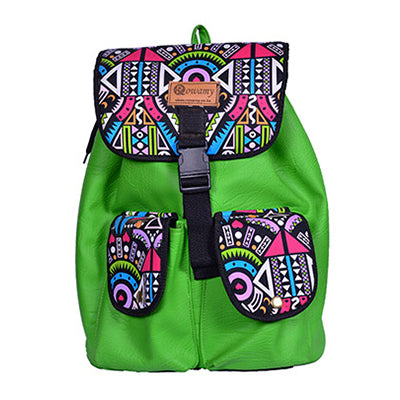 Green Tribal-Patterned Backpack