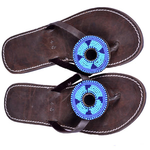 Blue Disk Beaded Flipflops