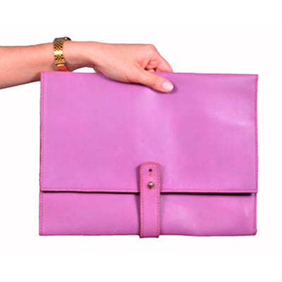 Hot Pink Leather Clutch
