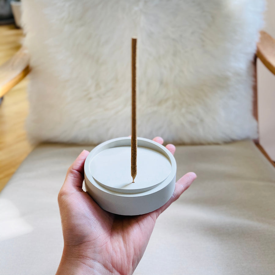 Tilt Upright Concrete Incense Burner