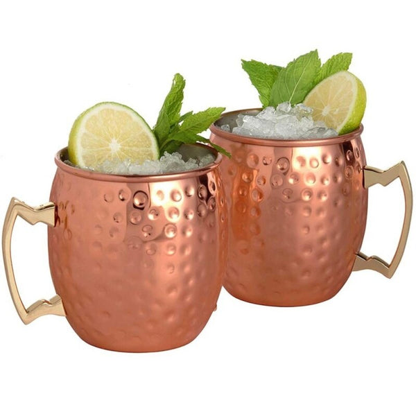 Hammered Copper Cocktail and Hot Drink Mugs