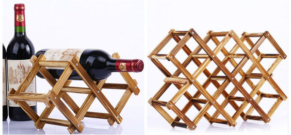 Wooden Collapsible Bottle Rack