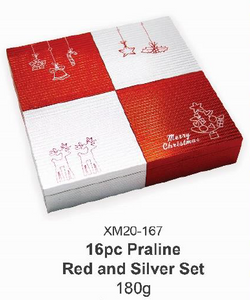 16pc Praline Red and Silver Set 180g/set
