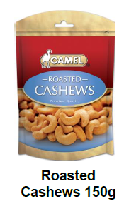 Camel Roasted Cashews (ZF) 150g x 10