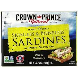 Crown Prince Skinless & Boneless Sardines in Olive Oil 3.75oz