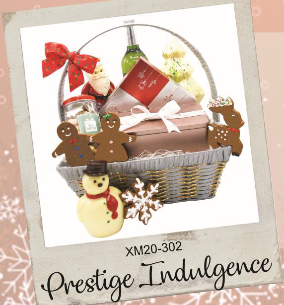 Hampers Prestige Indulgence - GB Snowflake, GB Reindeer, GB Boy, GB Girl, Large Fruitcake, Asst Xmas Cookies, Snowman Sr, Santa with Filled Sack - Large, 16pcs Asst Snowman Pralines in red and sliver box, Crystal Xmas Tree & Red or White wine (select one)