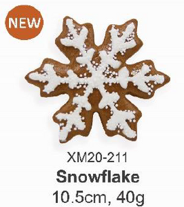 Gingerbread Snowflake 10.5cm, 40g (With deco, packed in cello bag 40pcs/ctn)