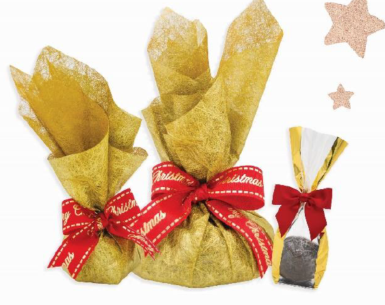 Xmas Pudding in clear gold cello bag, 120g