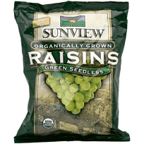 Sunview Organic Raisins Green S/Pack 0.5oz