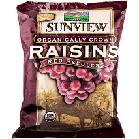 Sunview Organic Raisins Red S/Pack 0.5oz