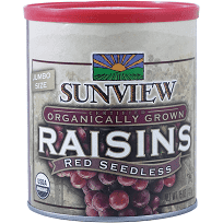 Sunview Organic Raisins Red Can 15oz