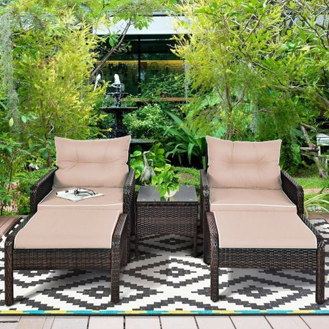 Patio set 2 Lounge Chairs Wicker Base And Beige Cushion