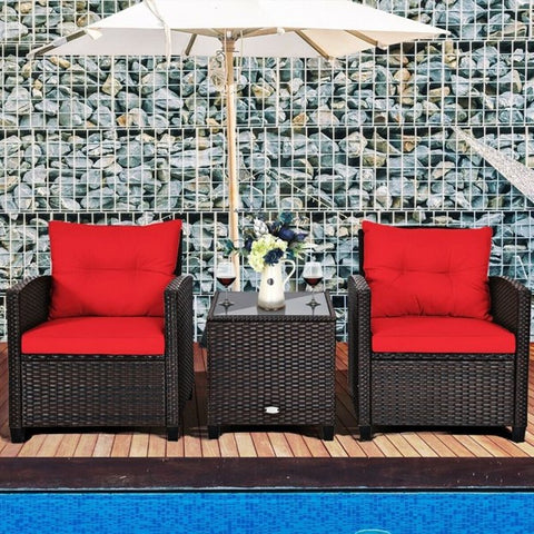 Patio Set of 3 Brown Wicker 2 Chairs And a Table