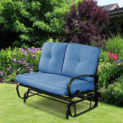Patio Love Seat for 2 Metal Base And Blue Cushion