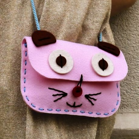 Kit de couture Sac Chat Rose (5+)