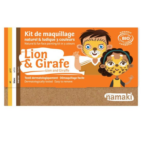 Kit de maquillage 3 couleurs Lion ou Girafe Bio