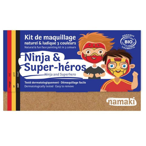 Kit de maquillage 3 couleurs Ninja ou Super-Héros Bio