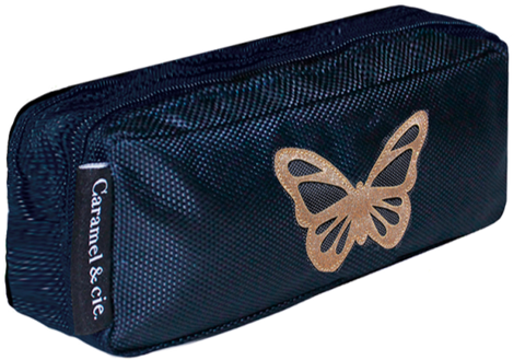 Trousse double bleue Papillon or