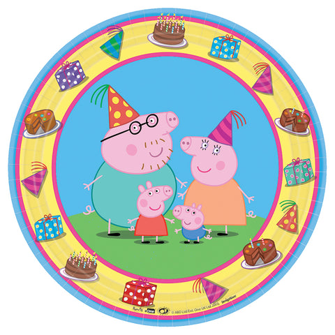 "7"" Peppa Pig Round Plates - Pack of 8"