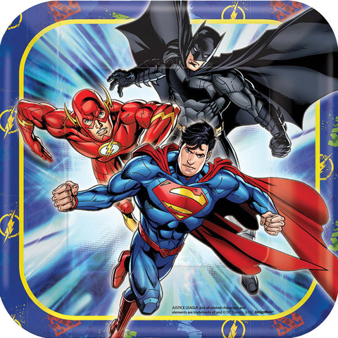 "7"" Justice League Square Plates - Pack of 8"