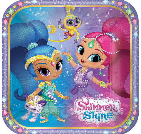 "7"" Shimmer Shine Square Plates - Pack of 8"