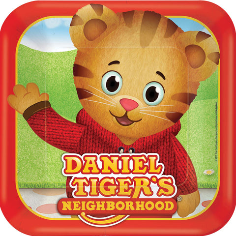 "9"" Daniel Tiger Square Plates - Pack of 8"