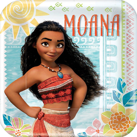 "9"" Moana Square Plates - Pack of 8"