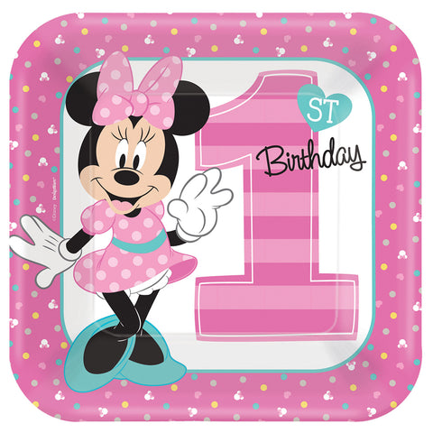 "9"" Minnie 1st Square Plates - Pack of 8"