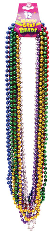 "33"" Beads 7.5mm Mardi Gras - Pack of 12"