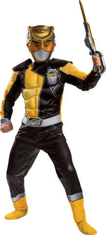 Boy's Gold Ranger Classic Muscle Costume - Beast Morphers