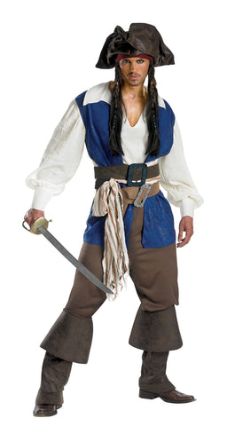 Men's Captain Jack Sparrow Deluxe Costume - Pirates Of The Caribbean