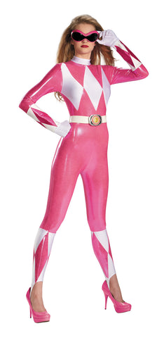 Women's Sassy Pink Power Ranger Bodysuit - Mighty Morphin