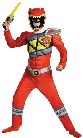 Boy's Red Ranger Classic Muscle Costume - Dino Charge