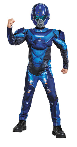 Boy's Blue Spartan Classic Muscle Costume - Halo
