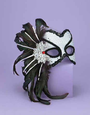 Women's White & Black Venetian Mask
