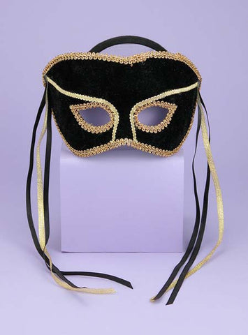 Women's Black & Gold Venetian Mask with Headband