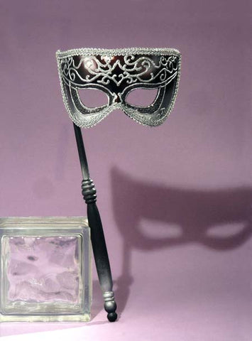 Women's Silver Venetian Mask with Stick