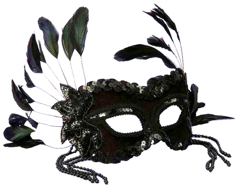 Women's Black Venetian Mask