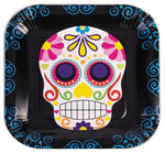 "9"" Day of the Dead Square Plate - Pack of 8"