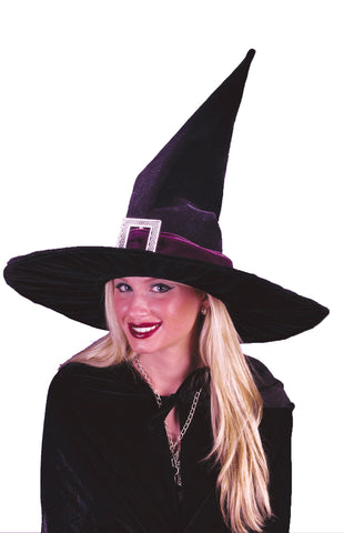 Witch Hat Black Pleated Velour