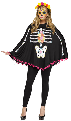 Women's Poncho Day of Dead