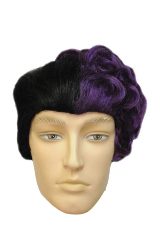 Two Face Black & Purple Wig