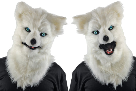 Animated Animal White Wolf Mask