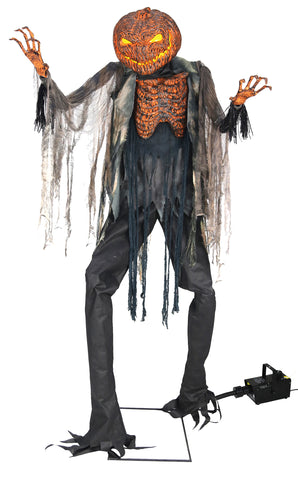 Animated Scorched Scarecrow Prop with Fog Maching