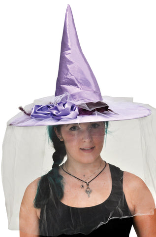 Witch Hat Purple Satin with Feather