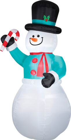 Airblown Snowman with Candy Cane Inflatable