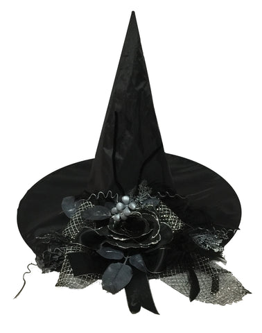 Witch Hat with Black Flower