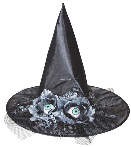 "17"" Witch Hat with Eyes & Flowers"