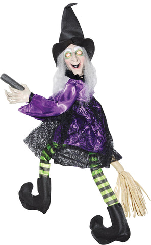 "20"" Flying Animated Witch On Broom"