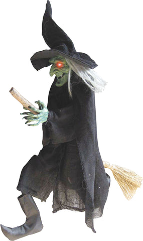 "42"" Flying Green-Faced Witch On A Broom"